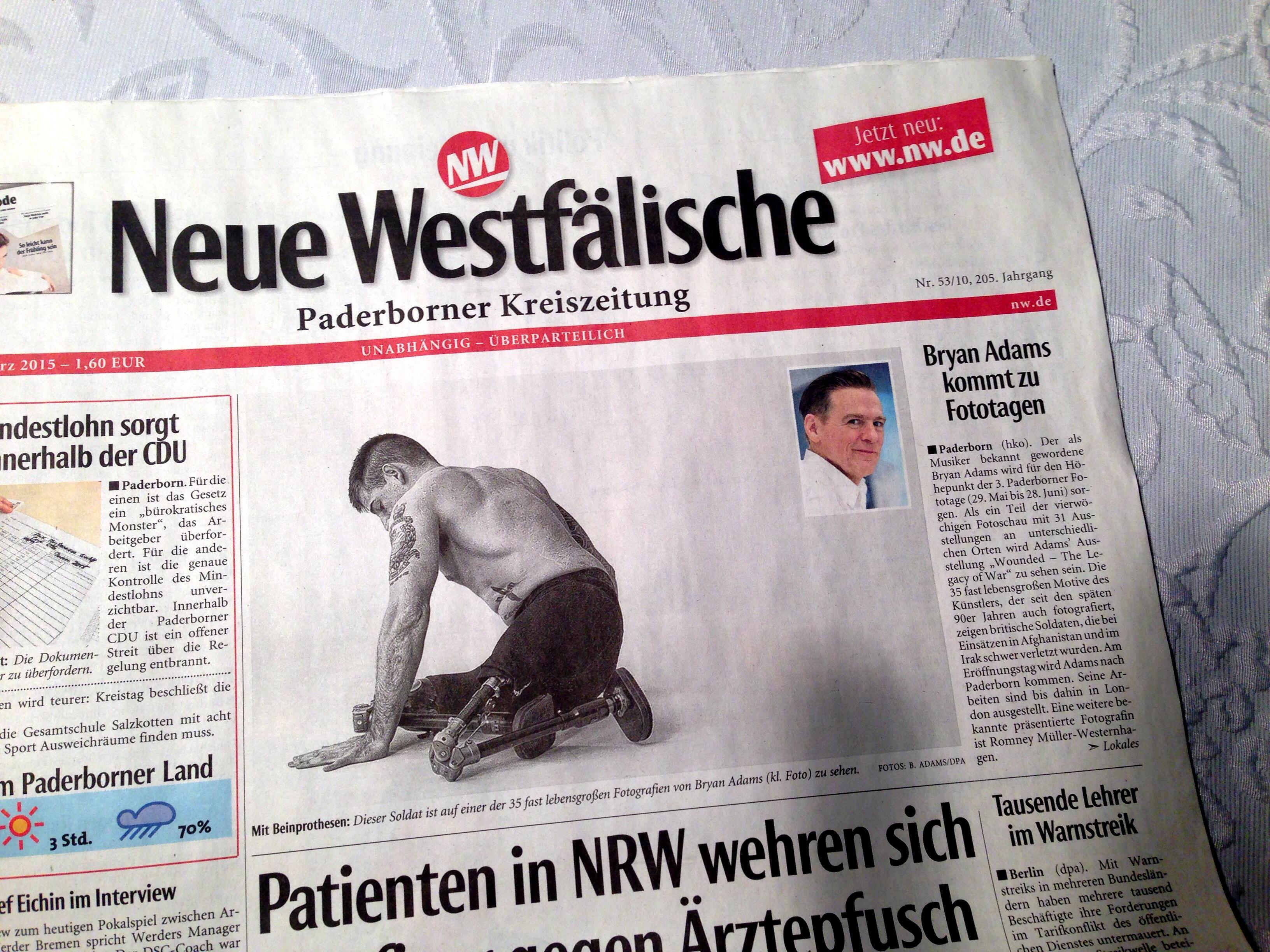 """Titelseite """"Neue Westfälische"""""""